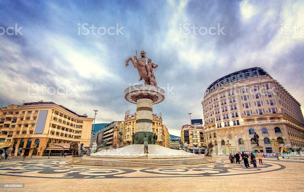 Alexander statue in Skopje center stock photo