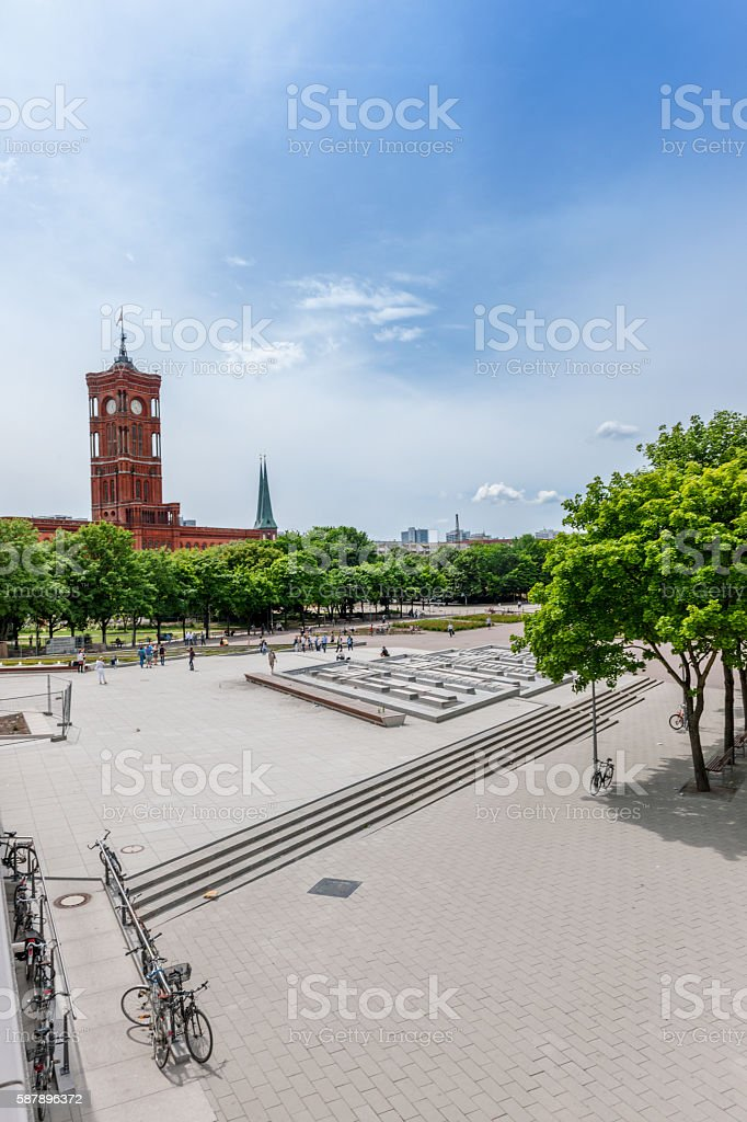 Alexanderplatz Berlin with view on Rotes Rathaus, Germany stock photo
