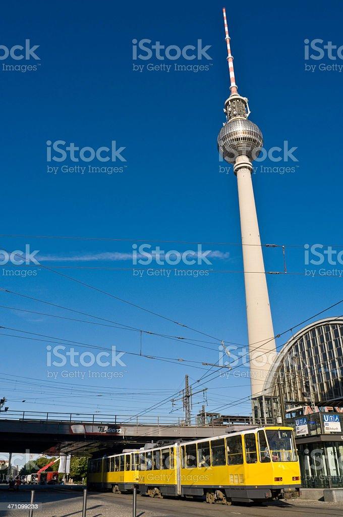 Alexanderplatz Fernsehturm tram royalty-free stock photo