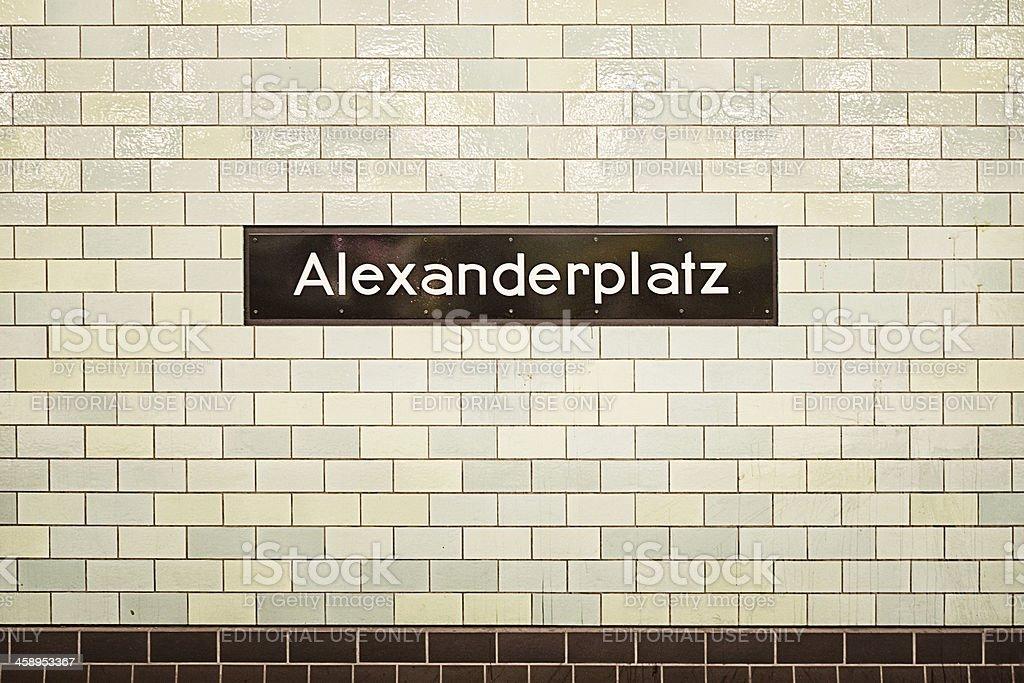 Alexanderplatz sign in subway station stock photo
