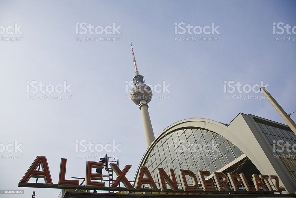 Alexanderplatz Station with Neon Letters royalty-free stock photo
