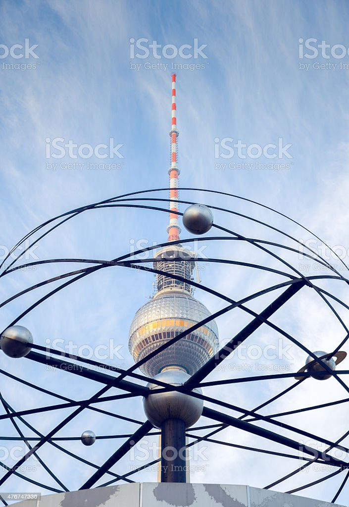 Alexanderplatz: Weltzeituhr (world time clock), television tower stock photo