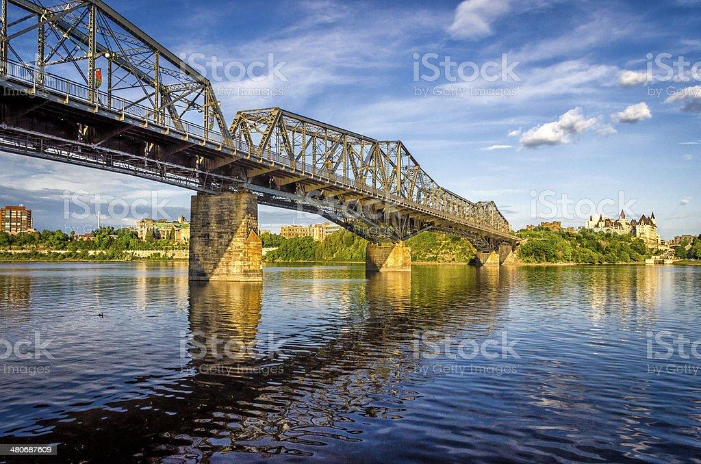 Alexandra Bridge and the Ottawa River stock photo