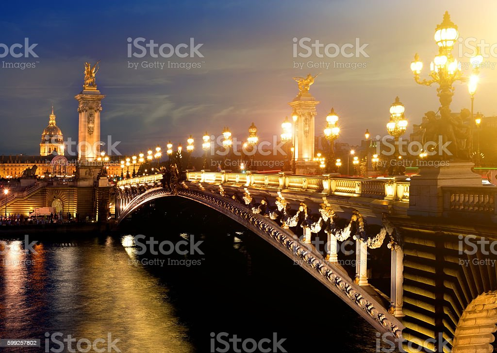Alexandre 3 Bridge, Paris stock photo