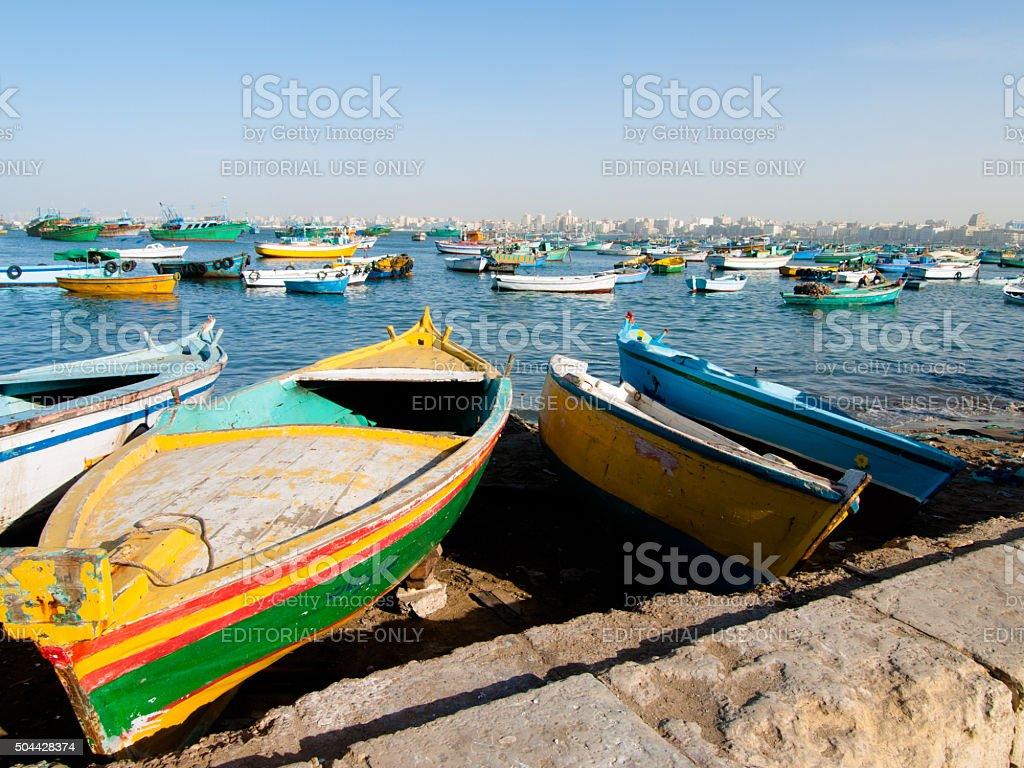 Alexandria boat harbor, Egypt stock photo