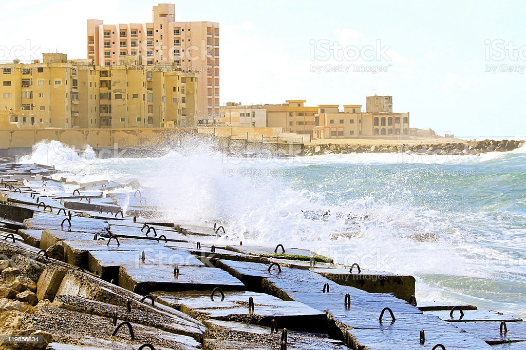 Alexandria breakwater stock photo