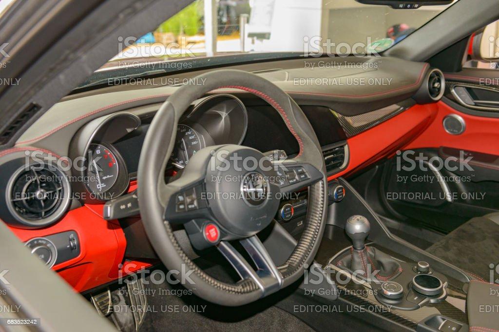 Alfa Romeo Giulia Quadrifoglio QV sports sedan interior stock photo