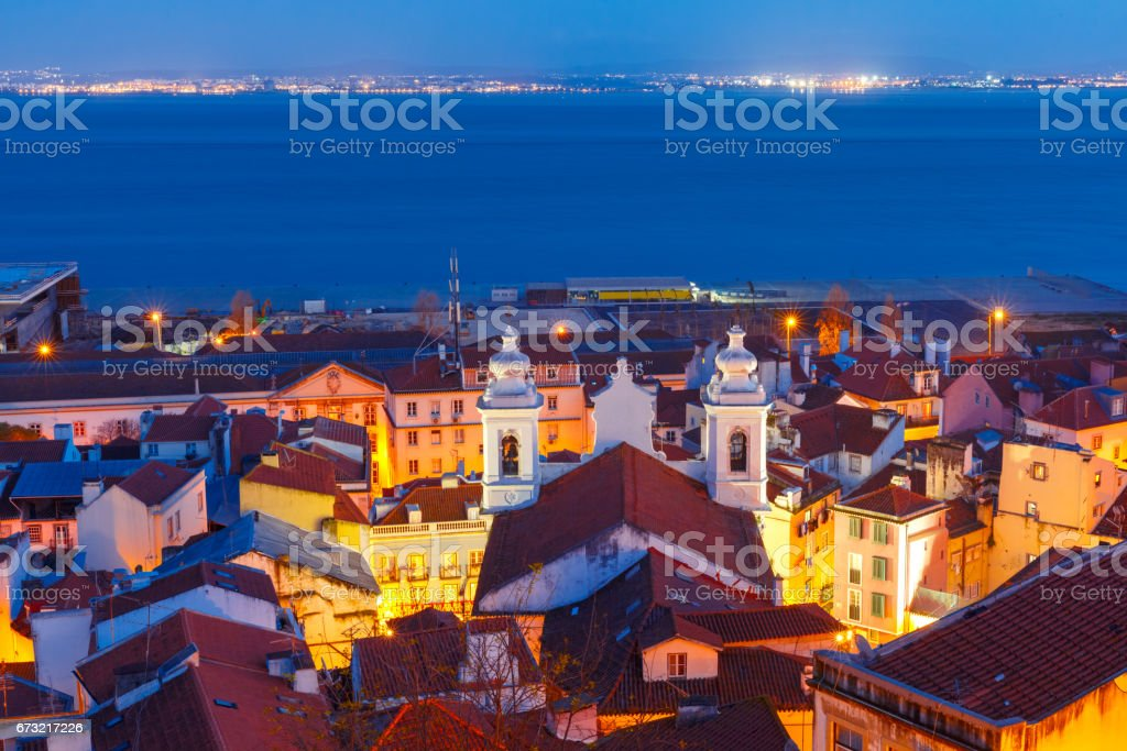 Alfama at night, Lisbon, Portugal stock photo