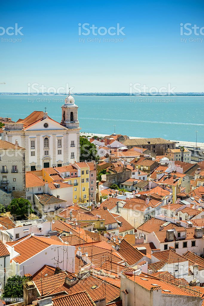 Alfama downtown in Lisbon stock photo