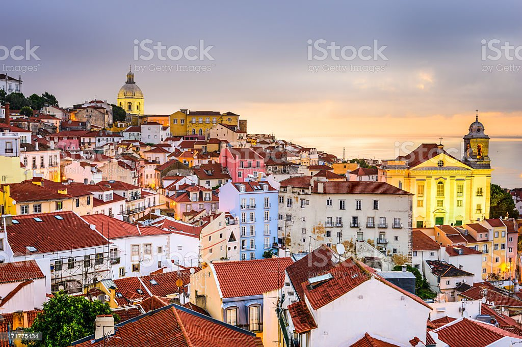 Alfama, Lisbon, Portugal Cityscape stock photo
