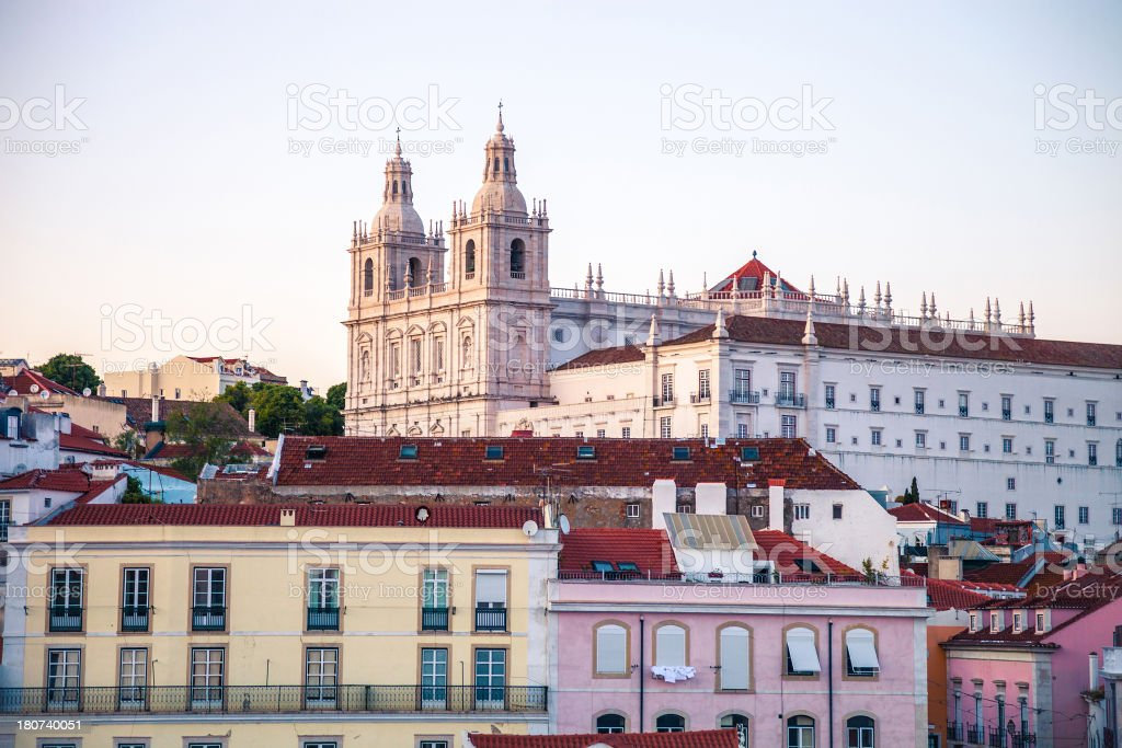 Alfama view at dawn, Lisbon stock photo
