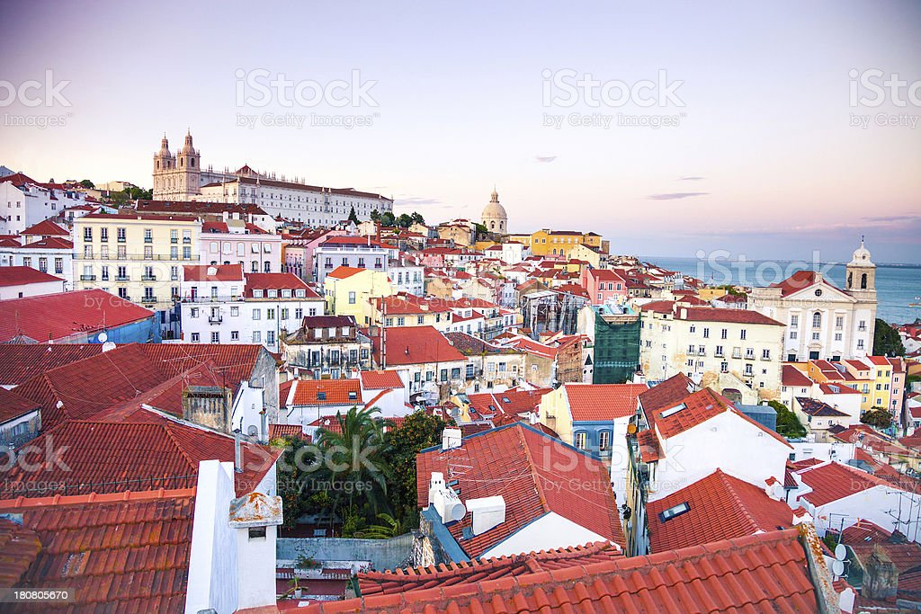 Alfama view at dawn, Lisbon royalty-free stock photo