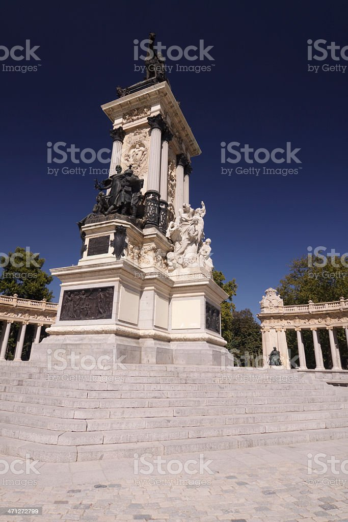 Alfonso XII Monument in Retiro Park, Madrid, Spain stock photo