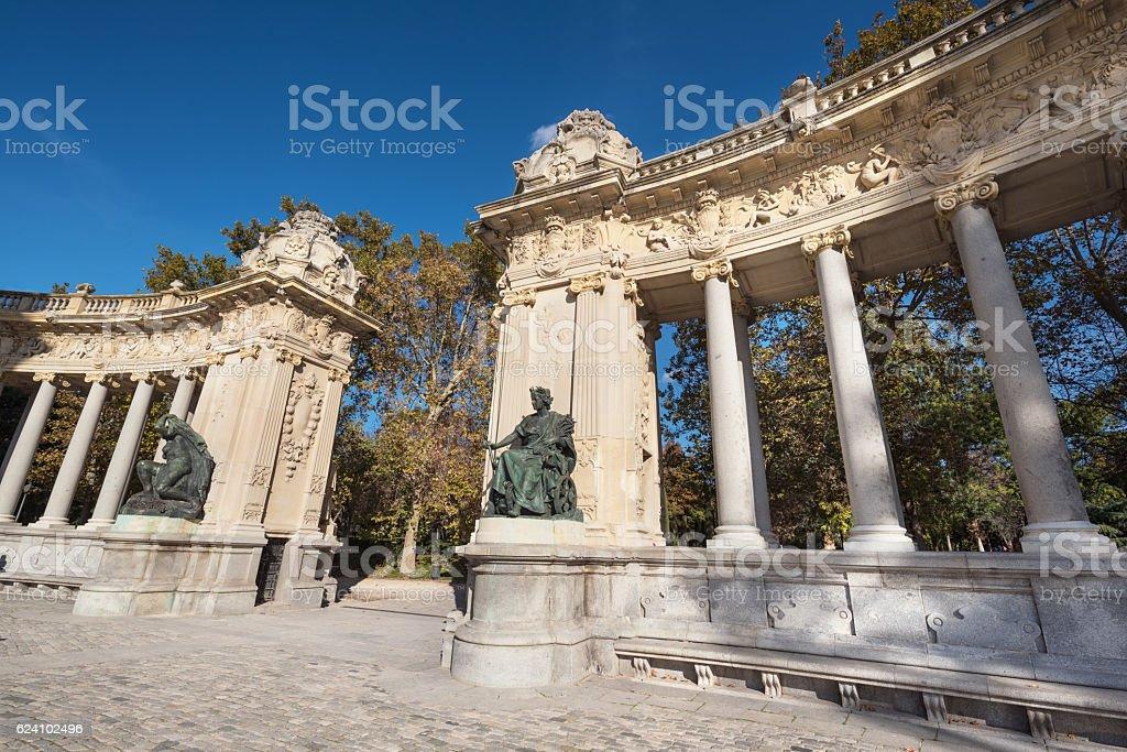 Alfonso XII monument in Retiro park, Madrid, Spain. stock photo