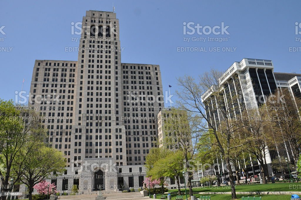 Alfred E. Smith Building and One Commerce Plaza in Albany stock photo