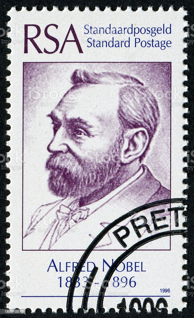 Alfred Nobel Stamp stock photo