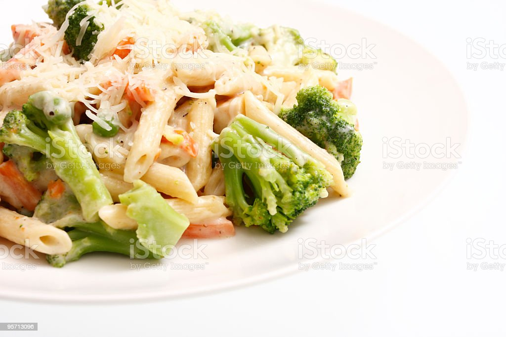 Alfredo chicken with penne pasta stock photo