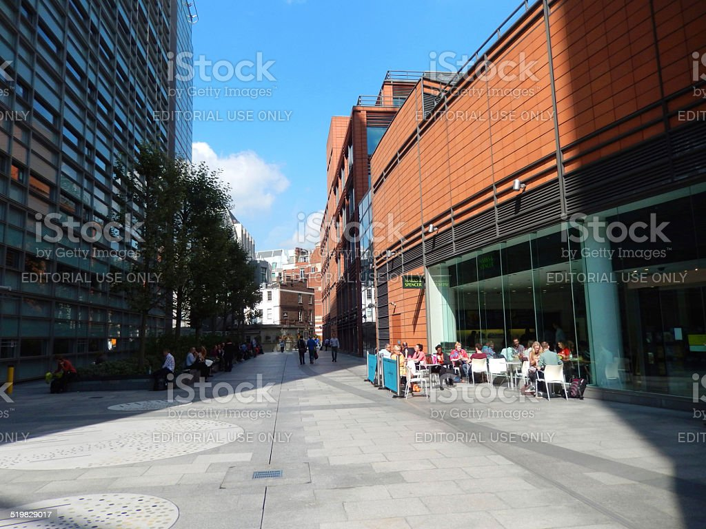 Al-fresco dining cafe by Marks-and-Spencer store in central London image stock photo