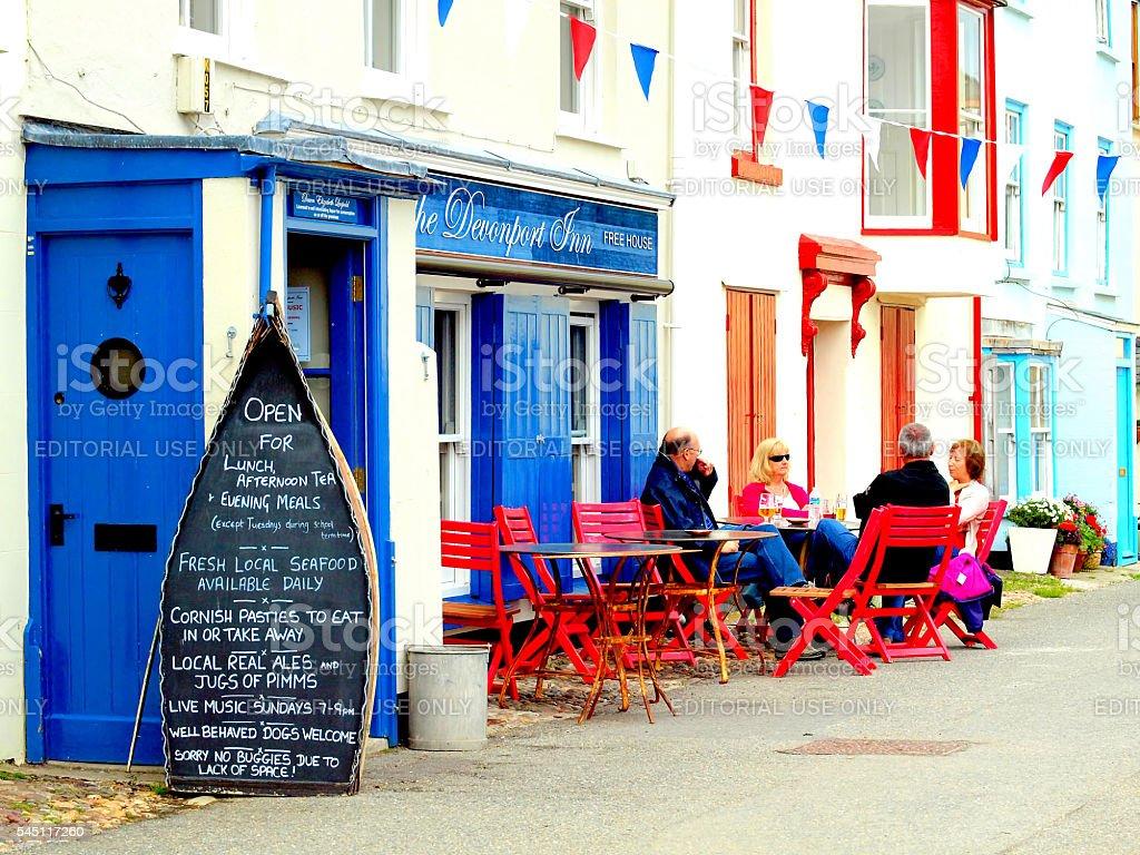 Alfresco, Kingsand, Cornwall, UK. stock photo