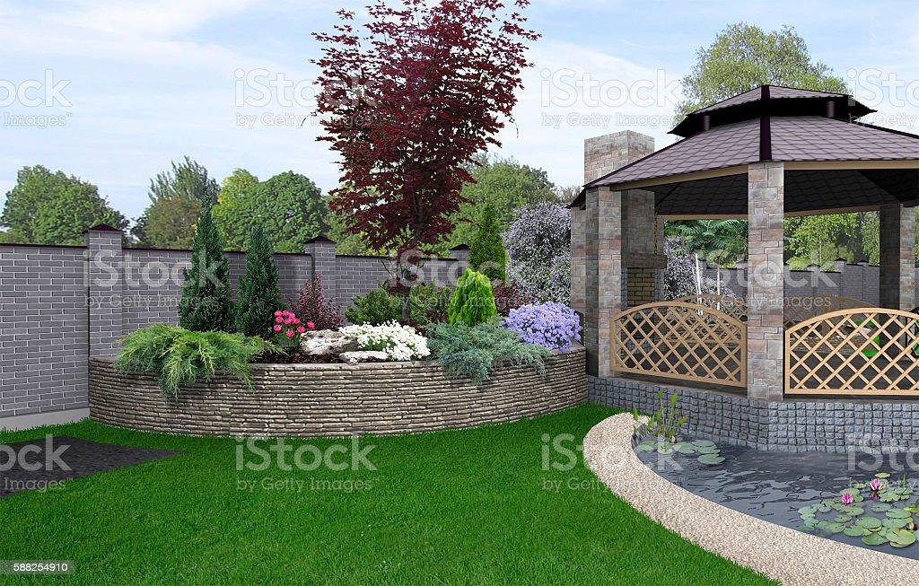 Alfresco living area, 3d render stock photo