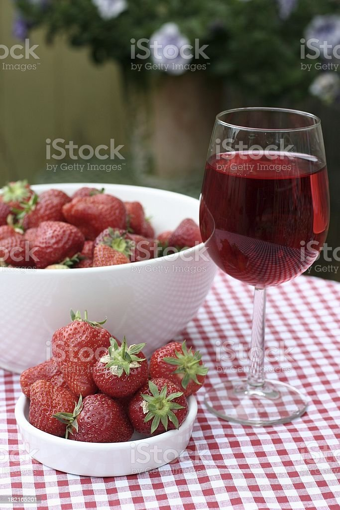 Alfresco on red check royalty-free stock photo
