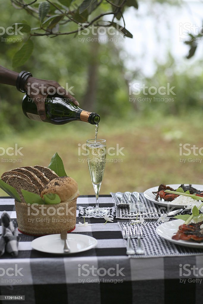 alfresco picnic dinning with champagne stock photo
