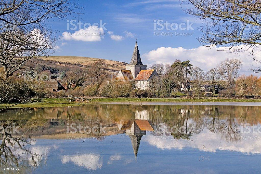 Alfriston Church stock photo