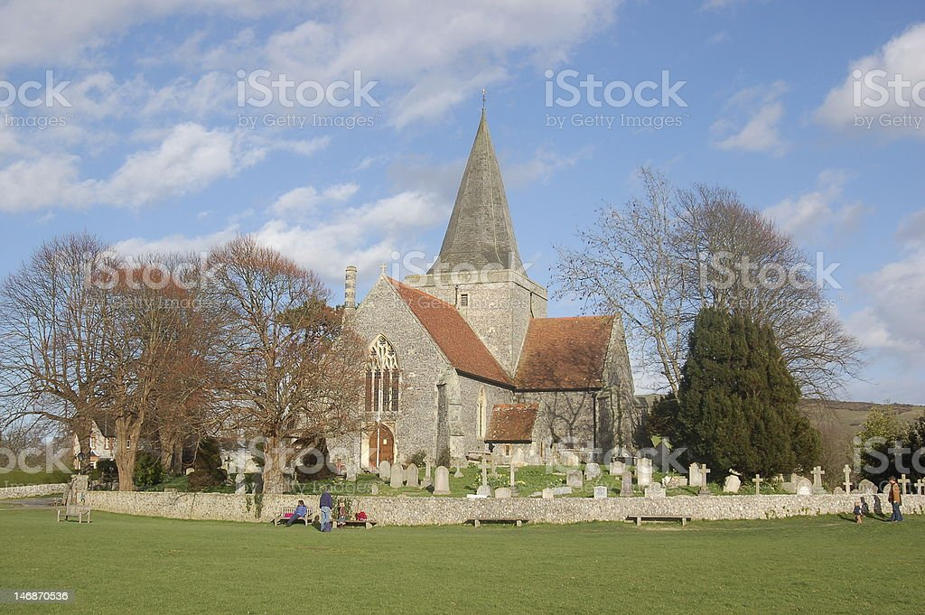Alfriston Village Green and Church stock photo