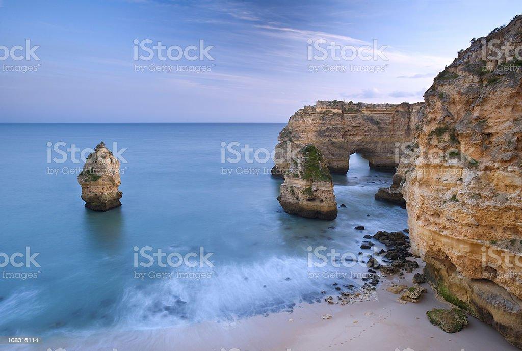 Algarve beach and cliffs stock photo