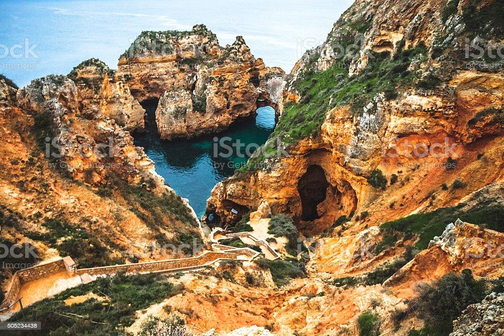 Algarve coastal rock formations. stock photo