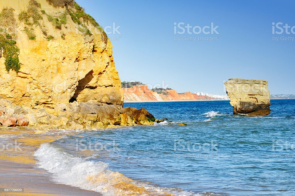 Algarve coastline in Portugal stock photo