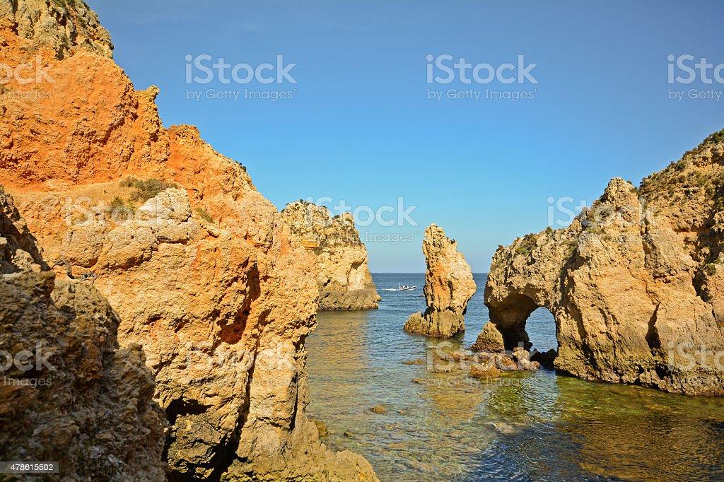 Algarve: Coastline with cliffs at Ponta da Piedade, Lagos Portugal stock photo