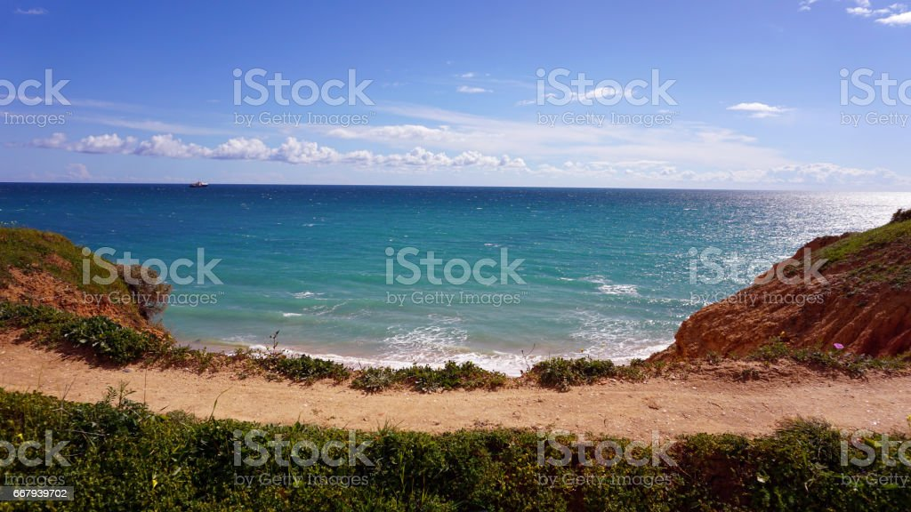 algarve landscape in portugal stock photo