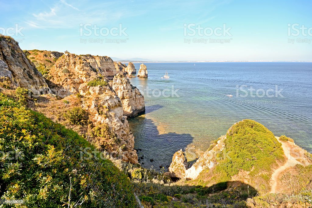 Algarve Portugal: Coastline at Ponta da Piedade near Lagos stock photo