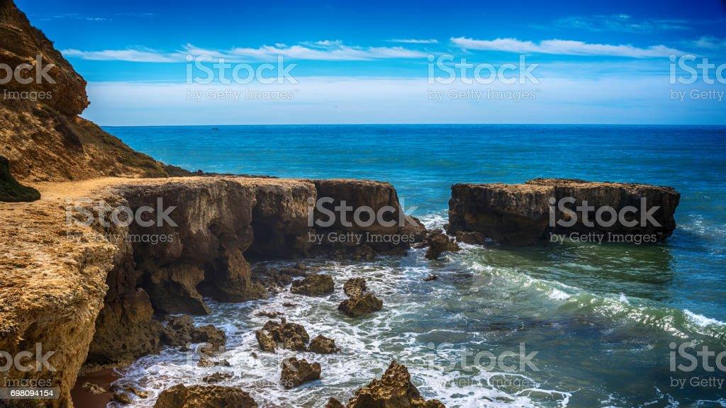Algarve, Portugal: rocks in the coast of Albufeira stock photo