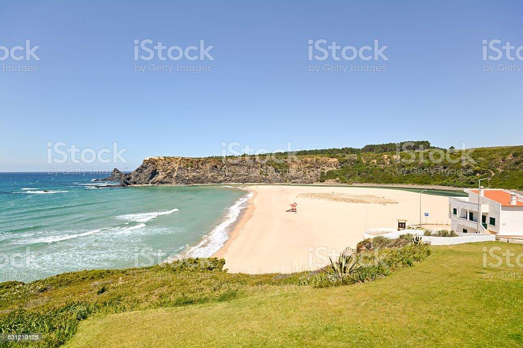 Algarve: Praia de Odeceixe, Beach and village by the sea stock photo