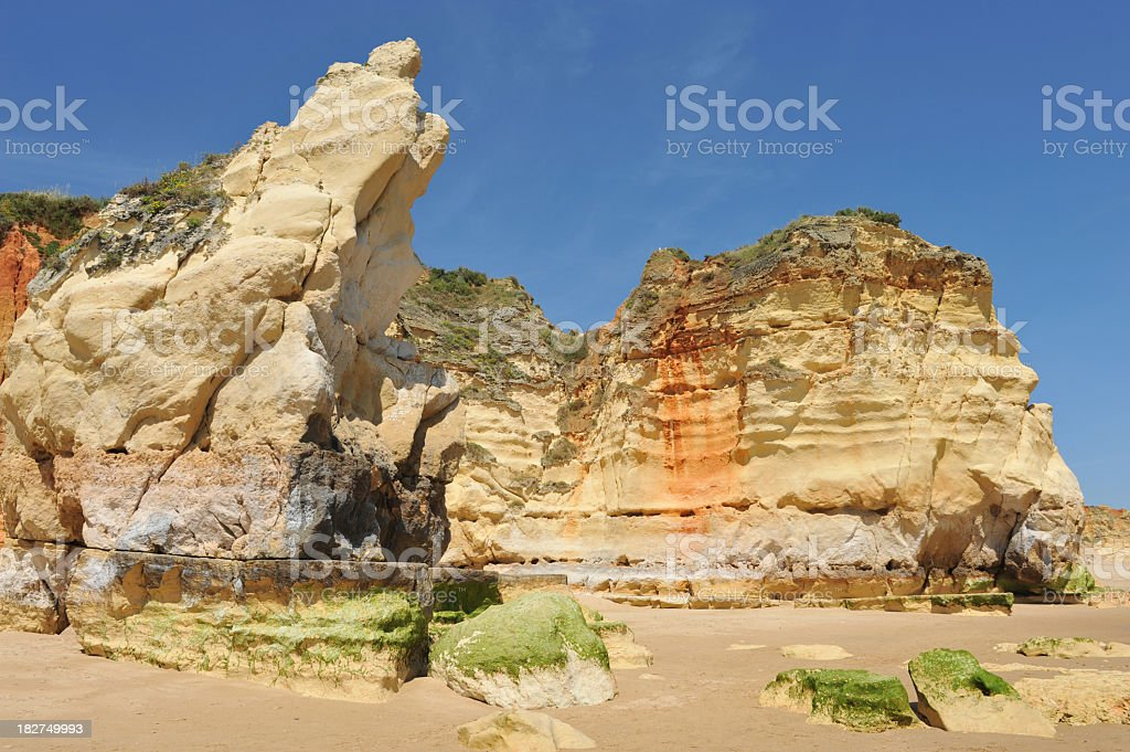 Algarve rock formations at low tide stock photo