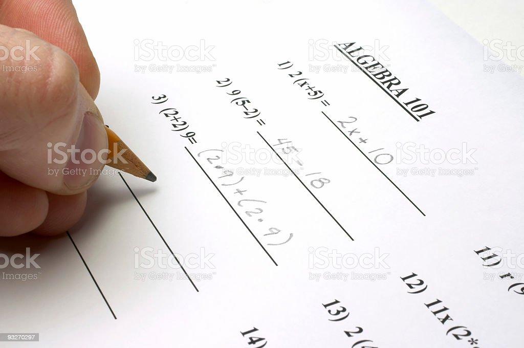 Algebra Test royalty-free stock photo