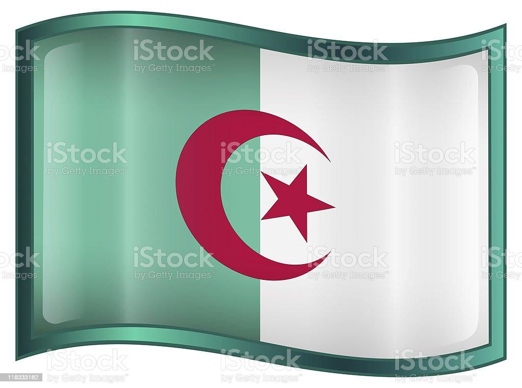 Algeria Flag Icon, isolated on white background stock photo