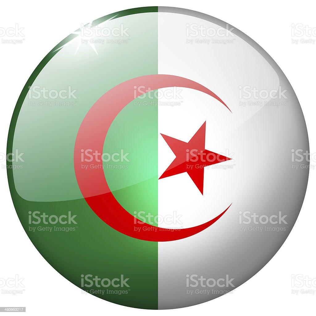 Algeria Round Glass Button stock photo