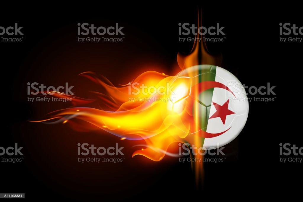 Algeria Soccer Ball is Burning in Flames on Black stock photo