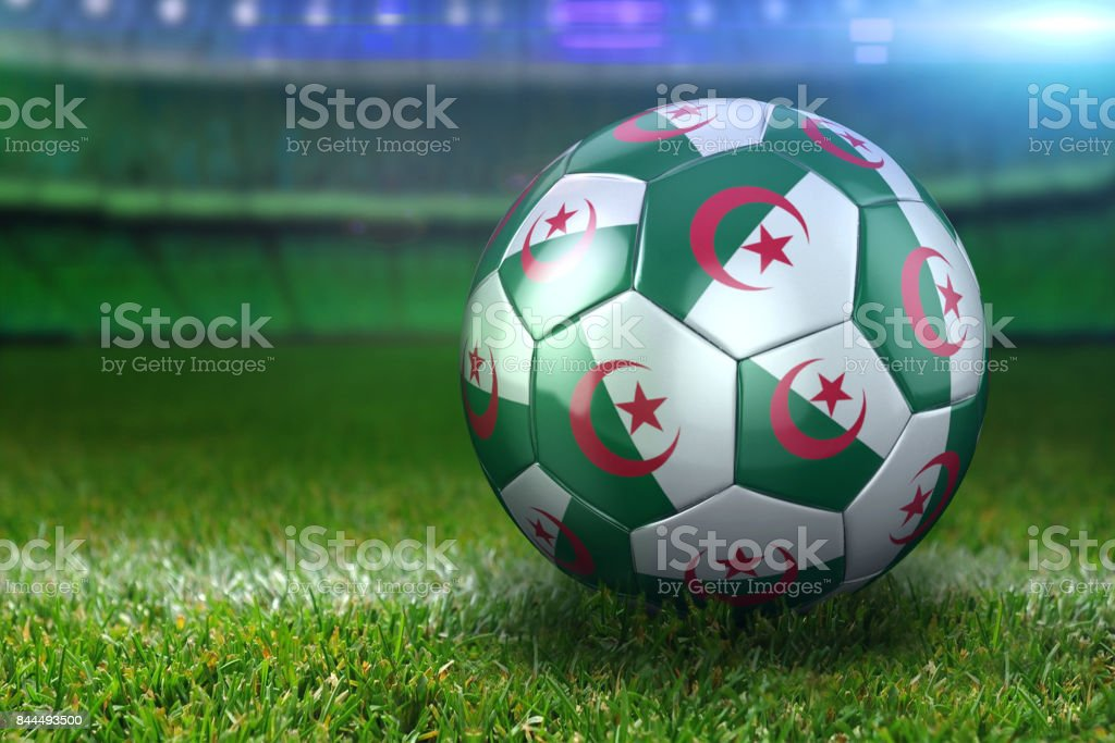 Algeria Soccer Ball on Stadium Green Grasses at Night stock photo