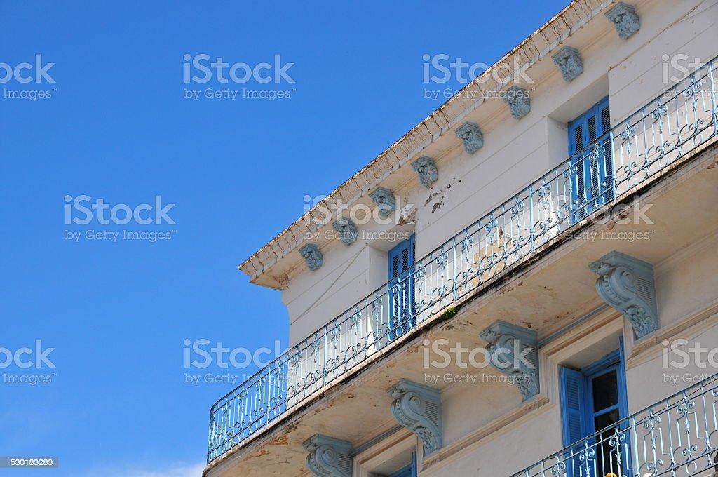 Algeria: white and blue building stock photo