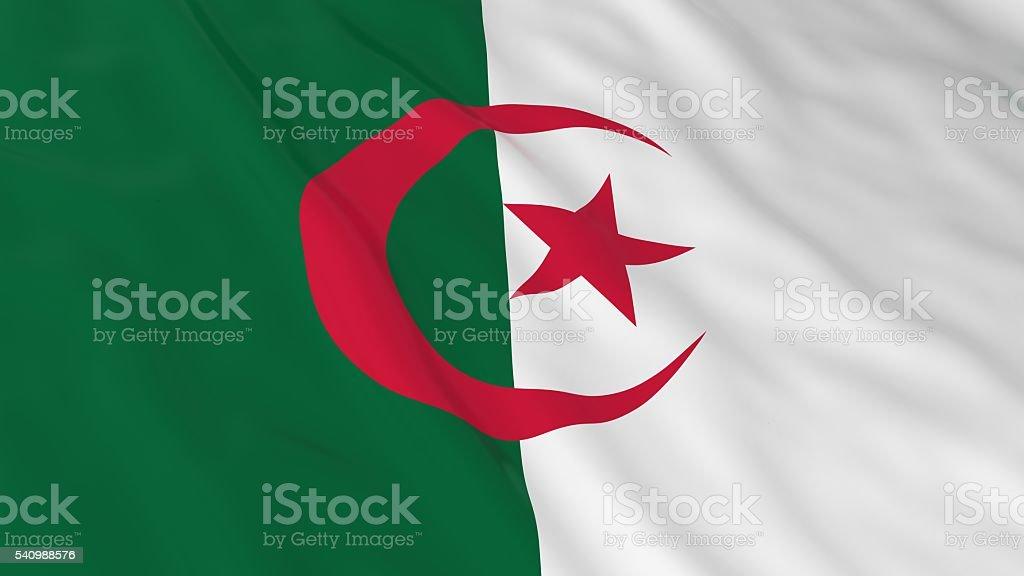Algerian Flag HD Background - Flag of Algeria 3D Illustration stock photo