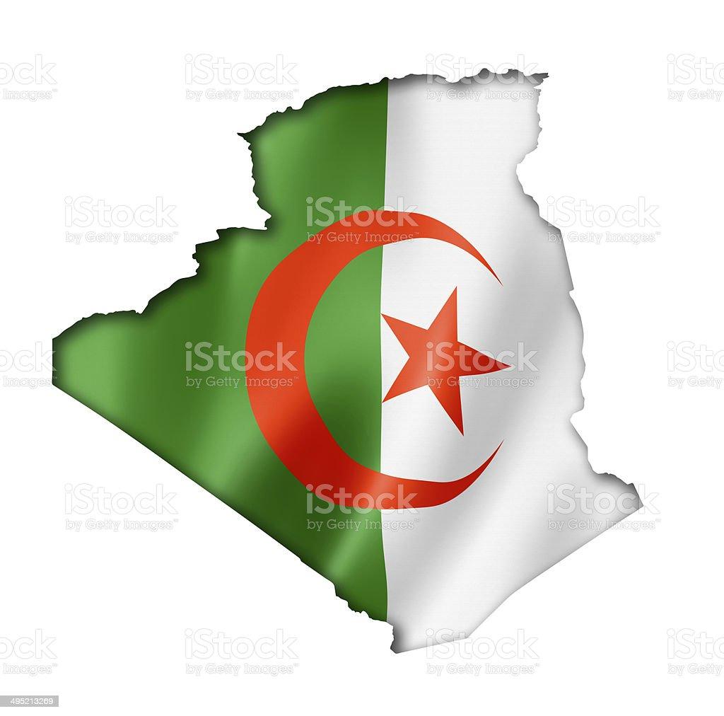 Algerian flag map stock photo