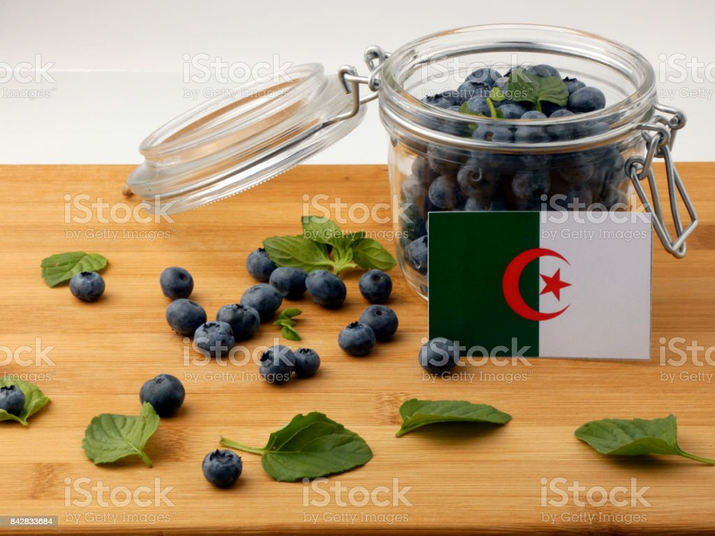 Algerian flag on a wooden plank with blueberries isolated on white stock photo