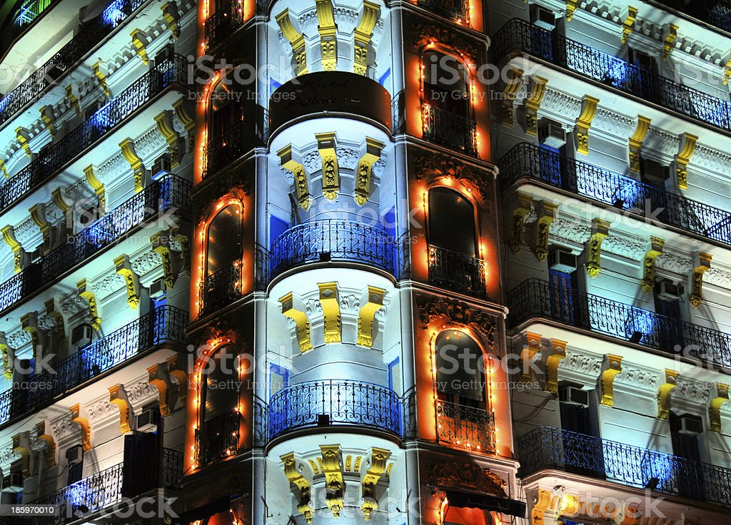 Algiers, Algeria: colonial facade by night stock photo