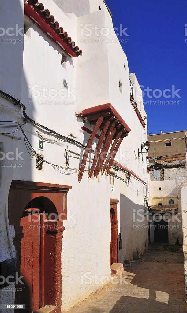 Algiers, Algeria: moorish door and balcony, casbah stock photo