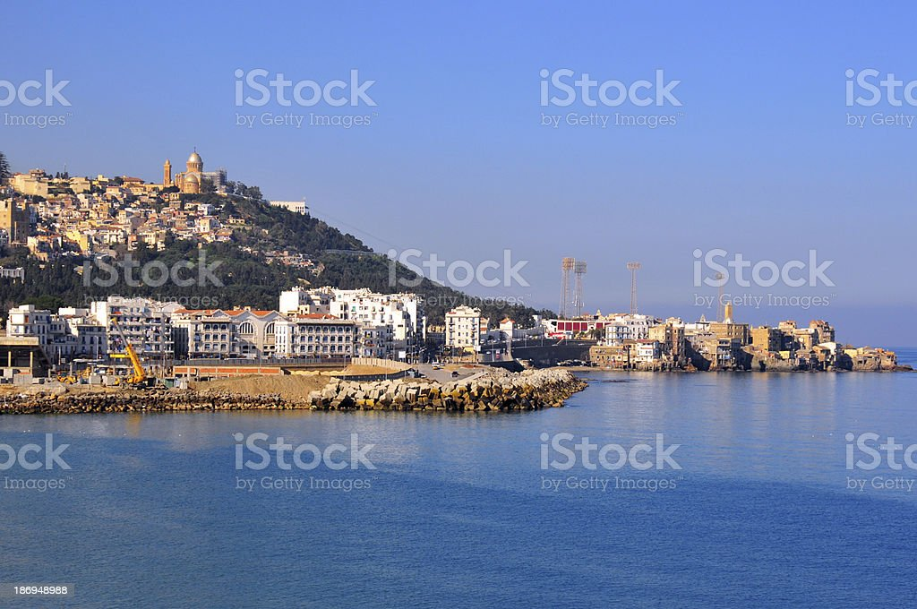 Algiers, Algeria: Notre Dame cathedral, Z'ghara, Bologhine and the sea stock photo