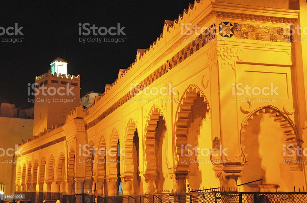 Algiers, Algeria: the Grand Mosque - nocturnal stock photo